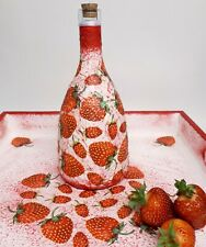 Strawberry decoupage wine bottle juice garrafa handmade giftidea for strawberry