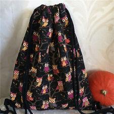 Black Polyester Canvas Drawstring Travel Backpack Student Book Bag Owls B72 S