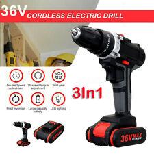 3In1 36V Cordless Drill Impact LED Worklight Light & Li-ion Battery Power Tool