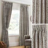 """Grey Lined Curtains Chenille Tape Top Ready Made 3"""" Pencil Pleat Curtain Pairs"""