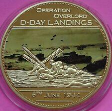 2014 OPERAZIONE OVERLORD Il D-Day Sbarco £ 5 taglia la prova MEDAGLIA Moneta Placcato Oro