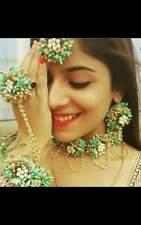 Artificial Flower Jewelry Set Indian Wedding Floral Bridal Haldi Necklace 6 Pcs