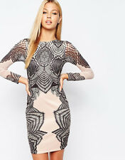 Lipsy Lace Print Bodycon Dress 10 Black Nude Long Sleeved Party Occasion