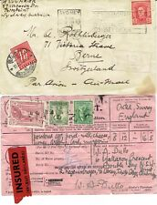 Australia KGV taxed cover to Switzerland and Insured postal receipt, fine