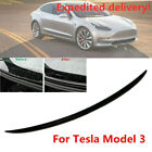 For Tesla Model 3 Carbon Fiber Style Trunk Spoiler Cover Water Retaining Wing