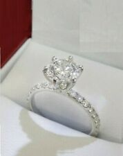 Solitaire Engagement Ring 14k Gold Over 1.50 Ct Round Brilliant Cut Moissanite