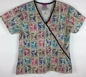 Disney Tinkerbell Scrub Top Size XS Tan Brown Trim Mock Wrap Nursing Medical