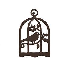 Cage à oiseau bois sculpté à la main de noir pendentif 32x50mm - Pack de 1 (M95)
