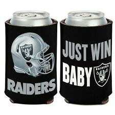 "OAKLAND RAIDERS ""JUST WIN BABY"" NEOPRENE CAN BOTTLE COOZIE COOLER KOOZIE"