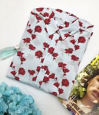 New Equipment Blue contrast Color Red flower print Silk women's blouses shirt
