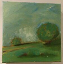 Original Oil Painting mini landscape Clouds on the Horizon