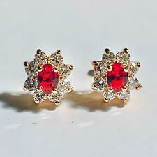 Gold Stud Earrings, Oval Red Ruby & Sim Diamonds, 18k Gold Filled, Plum UK Boxed