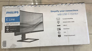 """Philips 346E2CUAE 34"""" Curved Frameless Monitor QHD 3440x1440 @ 100Hz, 1ms - NEW"""