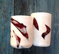 SET 2 FUSED GLASS UNIQUE STUDIO ART WHITE & RED BLOOD ON SNOW HAND CRAFTED VASES