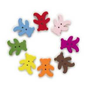 50pcs Bear Shape Wood Buttons for Sewing Scrapbooking Cloth Making Decor 20mm