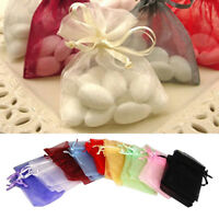 FJ- 50 Pcs Organza Jewelry Gifts Drawable Box Wedding Gift Candy Mini Pouch Bag