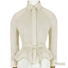 Alaia Nude Taupe Wavy Hem Tied Waist Cropped Shirt Blouse Top FR38 IT42