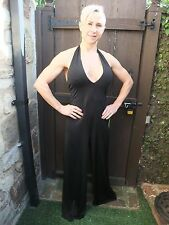 LOVELY ANN SUMMERS LONG BLACK STRETCH BODYCON JUMP PLAY TROUSER SUIT ~ UK 12