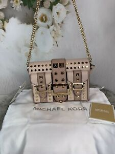 Michael Kors Hayden Medium Studded Saffiano Leather Messenger Bag Pink NWT $278