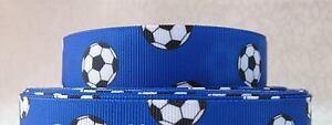 NEW Soccer Ball on Blue Grossgrain Ribbon 22mm - 1M,2M,3M,4M or 5M - U Choose