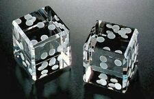Large Cut Pair of Dice Paperweight 2.75 inch With White Dots and Gift Box