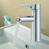 Modern Bathroom Taps Basin Sink Mono Mixer Chrome Cloakroom Tap with 2 Hoses UK
