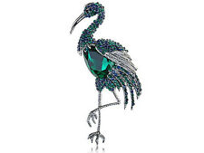 Chic Green Capri Blue Crystal Rhines Flamingo Zoo Animal Bird Brooch Pin Gifts