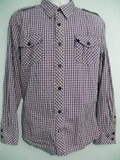 CAVI mens xl Long Sleeve Button Front Purple Check 100% Cotton Shirt