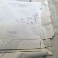 Vintage cotton Sheet hand embroidered Basket of Flowers 68 X 79 White