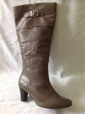 Next Brown Knee High Leather Wide Fit Boots Size 38