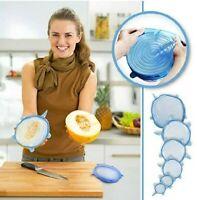 Silicone Stretch Lids Durable Durable BPA Free Reusable 6 PCS Blue Various Sizes