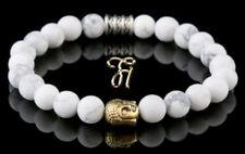 Howlite White Bracelet Pearl Bracelet Buddha Head Gold 8mm