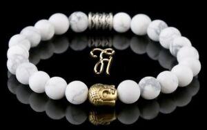 Howlite White Bracelet Pearl Bracelet Buddha Head Gold 0 5/16in