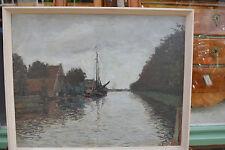 Willem Kooiman NL Holländische Flusslandschaft Kanal mit Schiff Botter