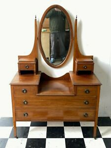 Antique Edwardian inlaid mahogany dressing table chest with mirror - Delivery