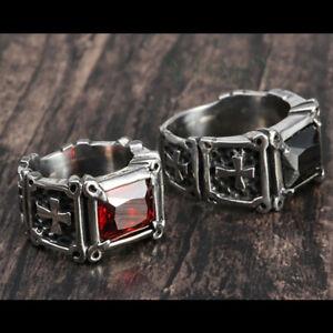 Men's Stainless Steel Casting Ring Black CZ Stone Medieval Cross Holy Christian