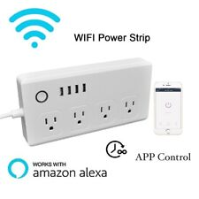WiFi Smart Power Strip Surge Protector with 4 AC Outlets and 4 USB Ports