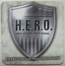 H.E.R.O. CHOCOLATE PEANUT BUTTER PORTER Beer COASTER, Mat, DuClaw, MARYLAND 2011