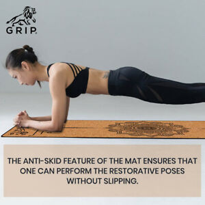 Grip Cork 24 Inches * 72 Inches, 3MM Thickness, Mandala Design Yoga Mat