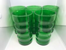 5 Vintage Anchor Hocking 1940's Green Tumblers Glasses Ribbed 10 ounce