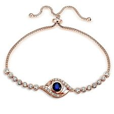 Rose Gold Tone over 925 Silver Blue Cubic Zirconia Evil Eye Adjustable Bracelet