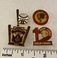 4 Little League Baseball PINs - CA D12 San Jose 1987