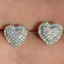 1.14 Ct Round Cut Diamond Heart Shape Stud Earrings 14K White Gold For Women's