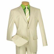 VINCI Men's Natural Beige Linen 2 Button Classic Fit Tropical Suit NEW