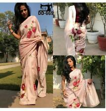 New Saree Indian Bollywood Heavy Satin Digital Floral Print Party Wear Ethnic