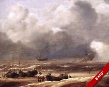 SHIPWRECK IN STORMY SEAS PAINTING LANDSCAPE SCENE ART REAL CANVAS PRINT