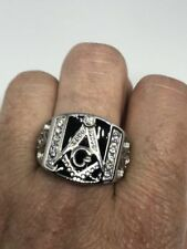 1980's Vintage Large Silver Stainless Steel Size 12 Men's Free Mason G Ring