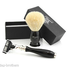 MACH 3 RAZOR IN BLACK COLOUR HANDLE & 100% WHITE Badger Hair Brush in BLACK KNOT
