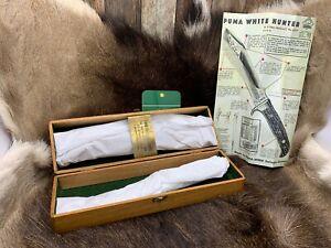 "Pre 1964 Puma 6377 White Hunter Knife Stag Handles Sheath Presentation Box ""A"""
