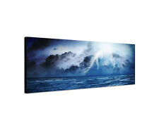 120x40cm Sturm Nacht Panorama Blitz dunkel Gewitter Meer Leinwand Bild Sinus Art